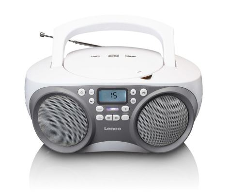 Radio mit CD-Player, PLL-Tuner, USB, Aux-in, stereo, grau/weiss