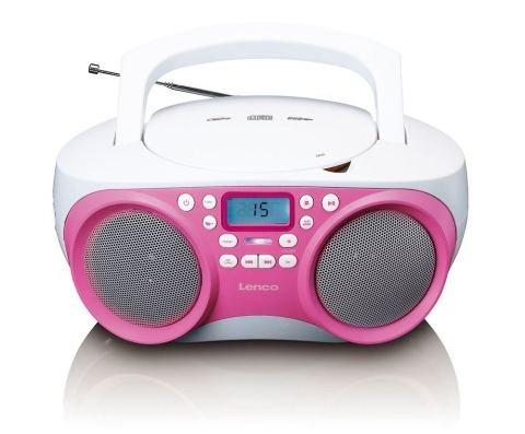 Radio mit CD-Player, PLL-Tuner, USB, Aux-in, stereo, pink/weiss